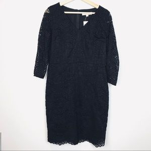 🆕NWT Loft Black Lace Long Sleeve Sheath Dress